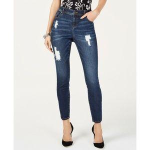 INC Destructed Skinny Jeans Dark Indigo 12